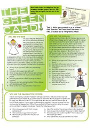 English Worksheet: Green Card Alibi Game (Second Set of Questions)
