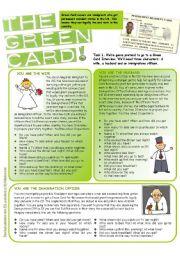 English Worksheet: Green Card Alibi Game (Third Set of Questions)