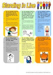 English Worksheet: Standing in Line (Warmer)