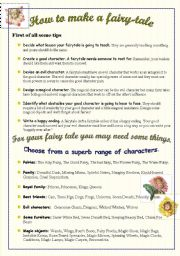 English Worksheet: How to make a fairy-tale