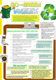 English Worksheets: Go-Green Week at Your Company (Business English, Discussion)