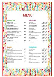 Cafe menu esl worksheet by roman svozilek for Roman menu template