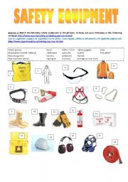 English Worksheets: Safety Equipment Vocab