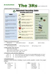 English worksheet: The fourth step of a lesson plan on recycling