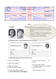 English Worksheet: Test 5th Personal Information, Be, Personal pronouns and possessive adjectives