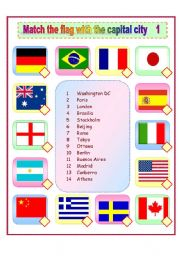 English Worksheet: Match the flags with the capital cities