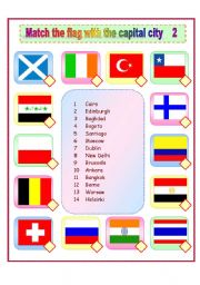 English Worksheet: Match the flags and capital cities 2