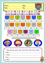 English Worksheet: How Old Are You? (Numbers & Age)