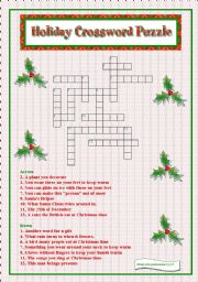 picture about Holiday Crossword Puzzles Printable called Holiday vacation Crossword Puzzle - ESL worksheet by way of libertybelle