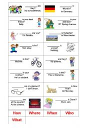 English Worksheets: Find the correct question word for each sentence