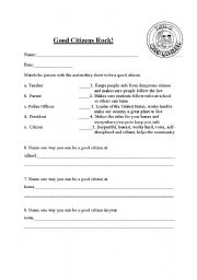 English Worksheets: Good Citizens Rock!
