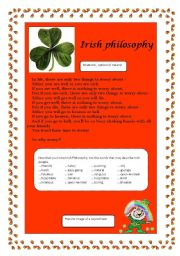 English Worksheet:  A poem: Irish Philosophy
