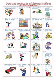 English Worksheet: personal pronouns subject and object -PART B