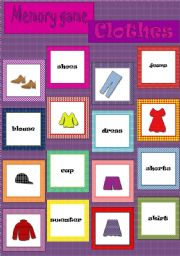 English Worksheets: Memory game - Clothes