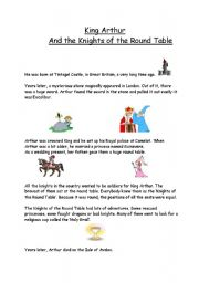 English Worksheet: King Arthur�s life