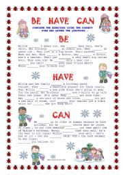 English Worksheet: Be Have Can - practice