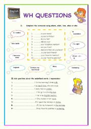 English Worksheets: wh quetions