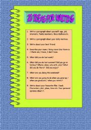 English Worksheets: 20 ideas for writing -1
