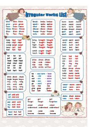 English worksheet:  Irregular Verbs - Past Simple   ( 4 pages)