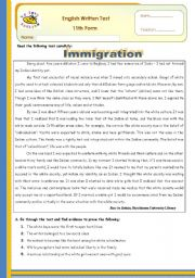 Immigration Test 11th form