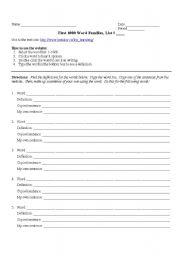 English Worksheet: Word Families Worksheet