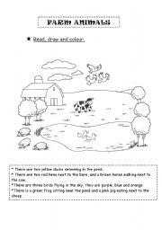 English Worksheets: Farm animals - Read, draw and colour