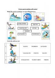 English Worksheet: water sports