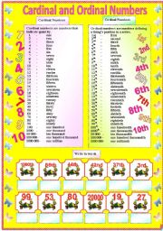 Cardinal and Ordinal Numbers - 2 pages of activity (with B/W and answer key) ** editable
