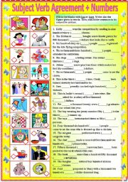 English Worksheets: Subject Verb Agreement with Numbers (with B/W and answer key) **editable