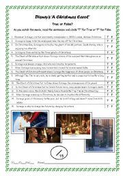 English Worksheets: Movie: Disney�s A Christmas Carol (2009)