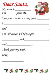 English Worksheet: Letter to Santa