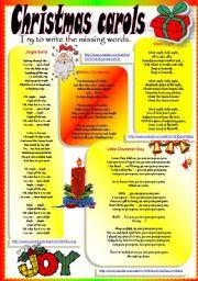 English Worksheets: CHRISTMAS CAROLS