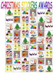 English Worksheet: CHRISTMAS STICKERS AWARDS