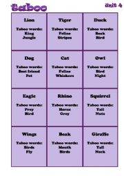 English Worksheets: animals taboo game