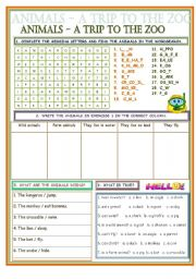 English Worksheets: ANIMALS - A TRIP TO THE ZOO