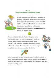 English Worksheet: Reading about Tennis