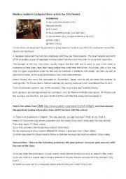 english worksheets monkey waiters reading and video comprehension. Black Bedroom Furniture Sets. Home Design Ideas