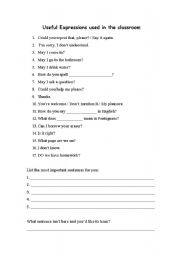 English Worksheets: Useful Expressions used in the classroom