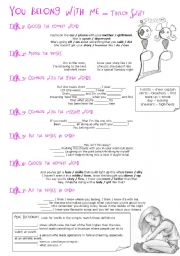 English Worksheets: Song: You belong with me - Taylor Swift