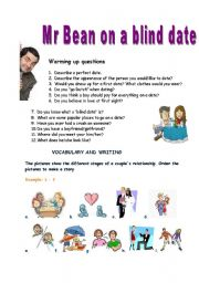 English Worksheets: Mr Bean on a blind date - VIDEO SESSION (16.04