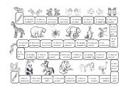 English Worksheets: Animal Board Game (bw)