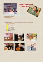 English Worksheet: Lamb curry - Jamie Oliver�s song     (with lyrics + key)