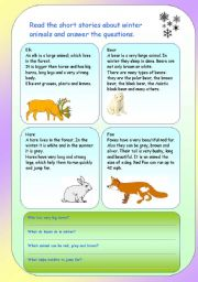 English Worksheets: Winter animals. Reading comprehension .