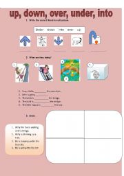 English Worksheets: up, down, over, under, into