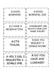 AT THE HOTEL FRONT DESK CONVERSATION CARDS