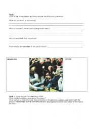 English Worksheets: Conflict Images Activity
