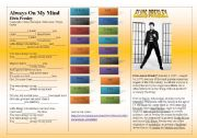 English Worksheet: SONG: ELVIS PRESLEY - Always On My Mind