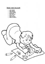 English Worksheet: Colour the parts of the body