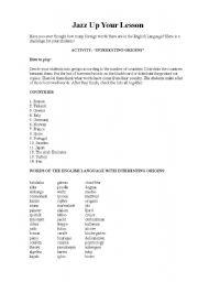 English worksheet: Interesting origins