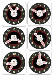 English Worksheet: Telling the time with Hunny Bunny - More clock/time flashcards (incl. words cards -EDITABLE)
